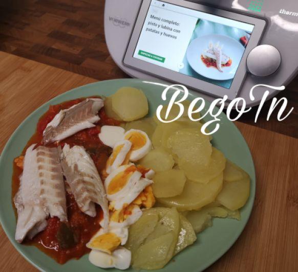 Menú: Pisto con patatas, huevos y lubina en Thermomix®