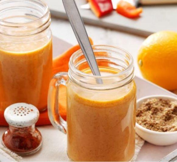 Bebida antioxidante (lino, coco, pimiento rojo y naranja) en Thermomix®