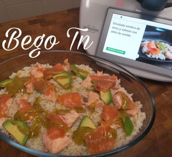 Ensalada nórdica de arroz y salmón con aliño de eneldo en Thermomix®